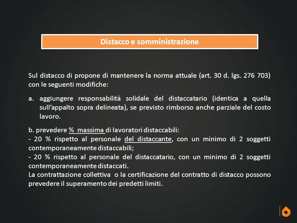 Distacco e somministrazione Sul distacco di propone di mantenere la norma attuale (art. 30 d. lgs. 276 703) con le seguenti modifiche: a.aggiungere re