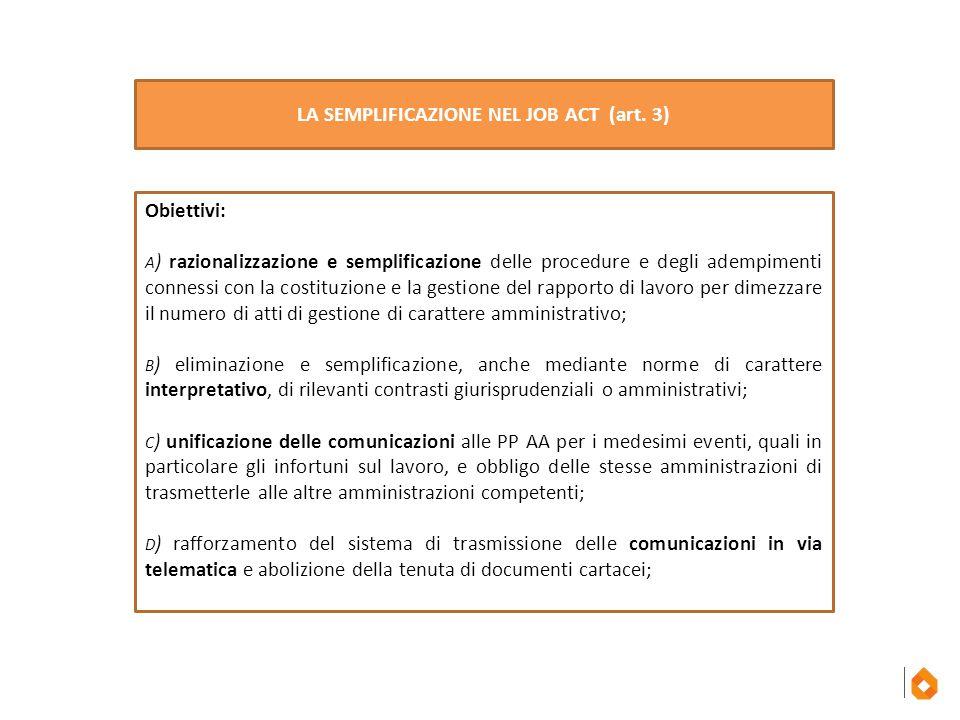 Obiettivi: A ) razionalizzazione e semplificazione delle procedure e degli adempimenti connessi con la costituzione e la gestione del rapporto di lavo