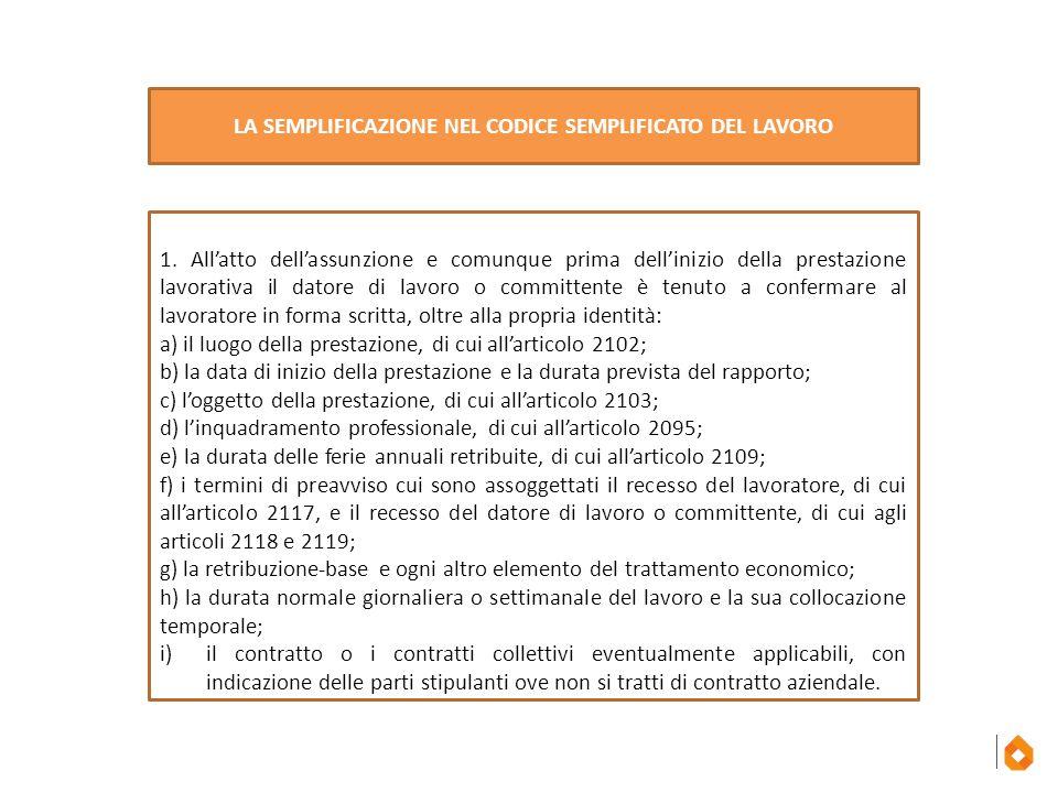 1 1. All'atto dell'assunzione e comunque prima dell'inizio della prestazione lavorativa il datore di lavoro o committente è tenuto a confermare al lav