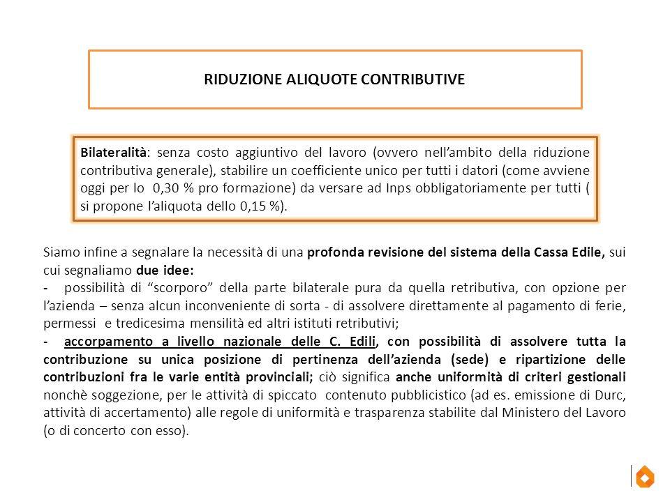 RIDUZIONE ALIQUOTE CONTRIBUTIVE Bilateralità: senza costo aggiuntivo del lavoro (ovvero nell'ambito della riduzione contributiva generale), stabilire