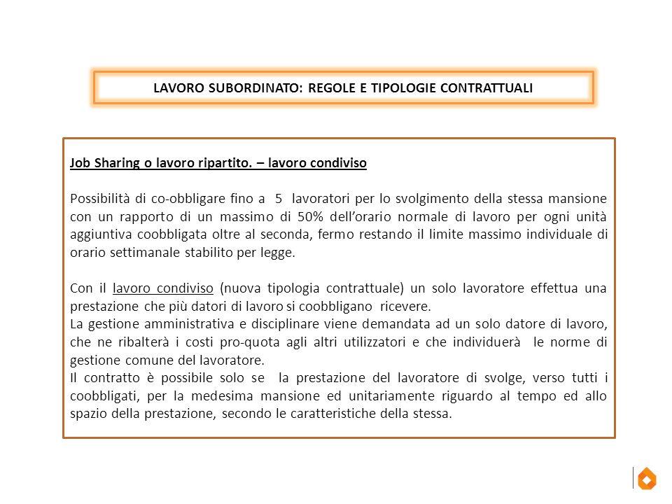 LAVORO SUBORDINATO: REGOLE E TIPOLOGIE CONTRATTUALI Job Sharing o lavoro ripartito. – lavoro condiviso Possibilità di co-obbligare fino a 5 lavoratori