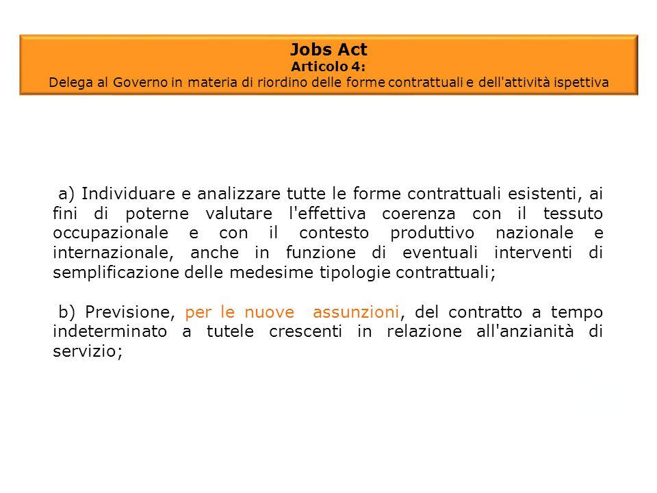 a) Individuare e analizzare tutte le forme contrattuali esistenti, ai fini di poterne valutare l'effettiva coerenza con il tessuto occupazionale e con
