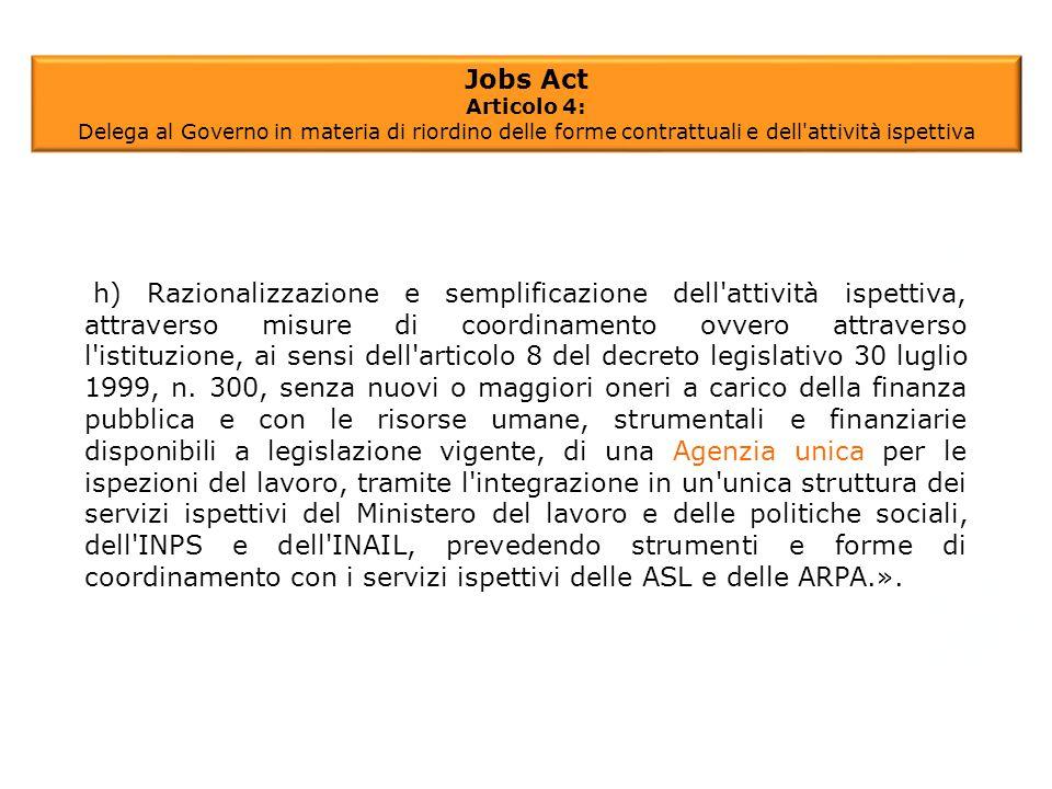 Jobs Act Articolo 4: Delega al Governo in materia di riordino delle forme contrattuali e dell'attività ispettiva h) Razionalizzazione e semplificazion