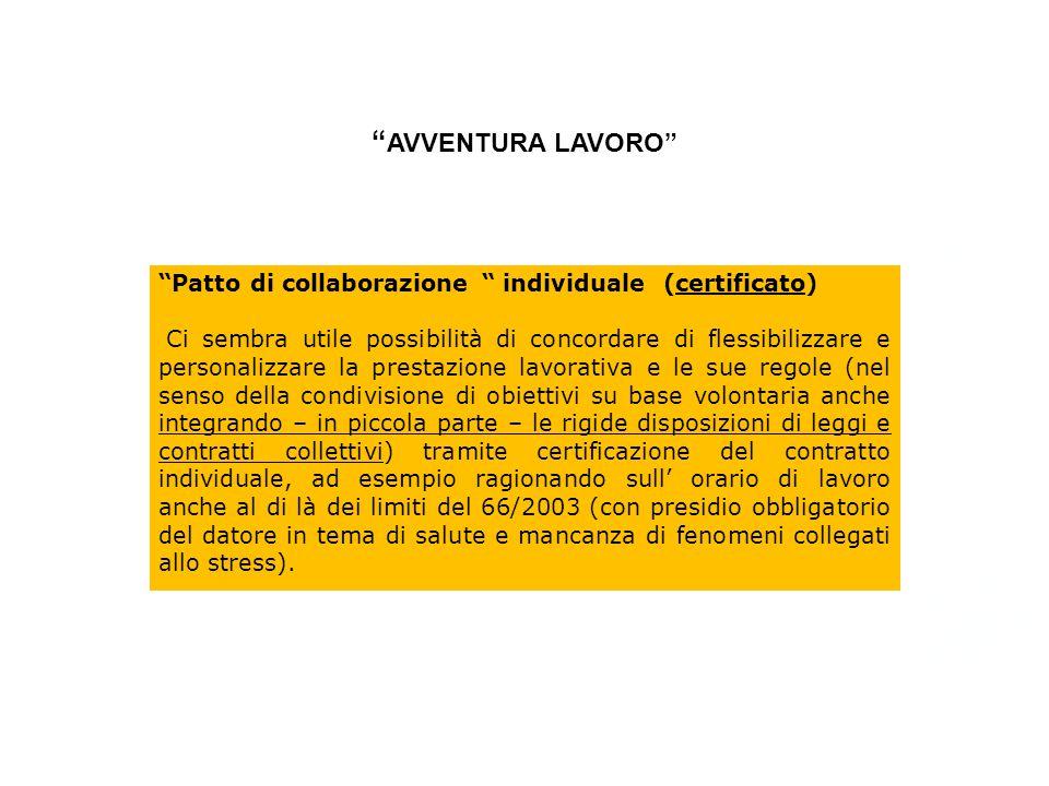 """""""Patto di collaborazione """" individuale (certificato) Ci sembra utile possibilità di concordare di flessibilizzare e personalizzare la prestazione lavo"""