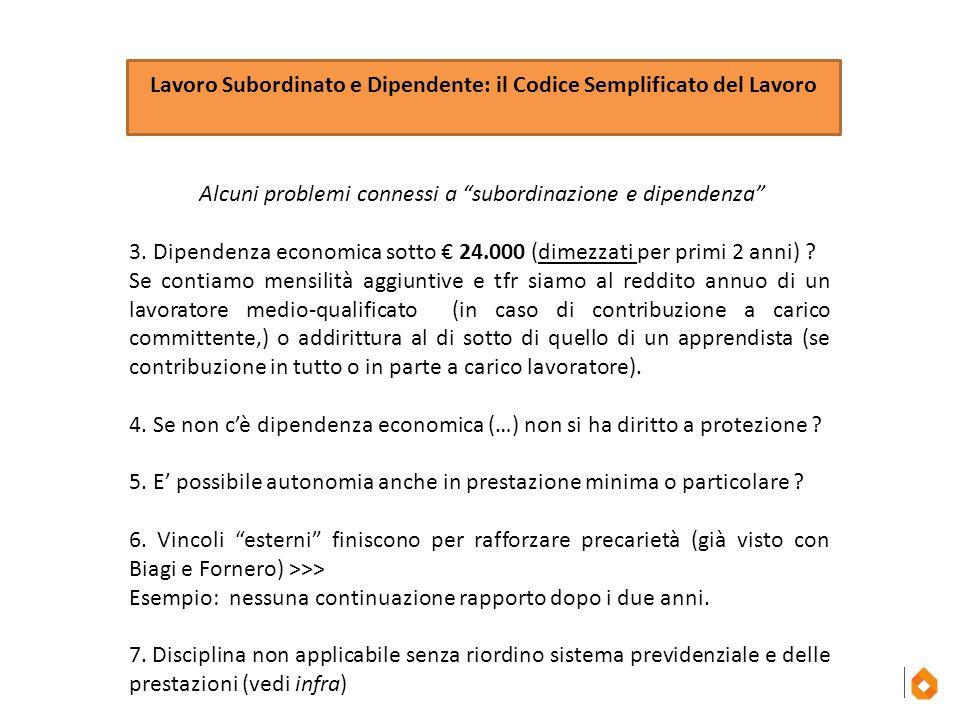 """Lavoro Subordinato e Dipendente: il Codice Semplificato del Lavoro Alcuni problemi connessi a """"subordinazione e dipendenza"""" 3. Dipendenza economica so"""