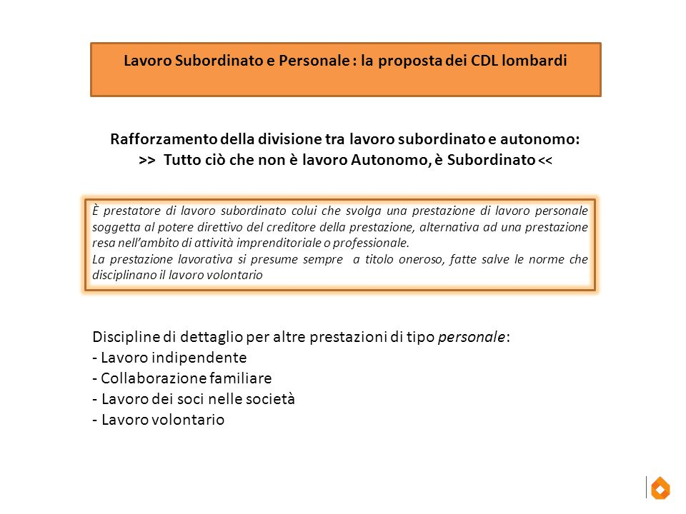 Lavoro Subordinato e Personale : la proposta dei CDL lombardi Rafforzamento della divisione tra lavoro subordinato e autonomo: >> Tutto ciò che non è