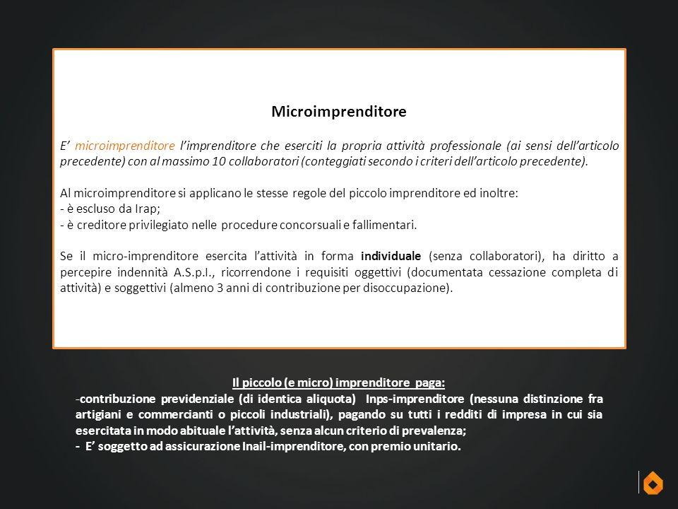 Microimprenditore E' microimprenditore l'imprenditore che eserciti la propria attività professionale (ai sensi dell'articolo precedente) con al massim