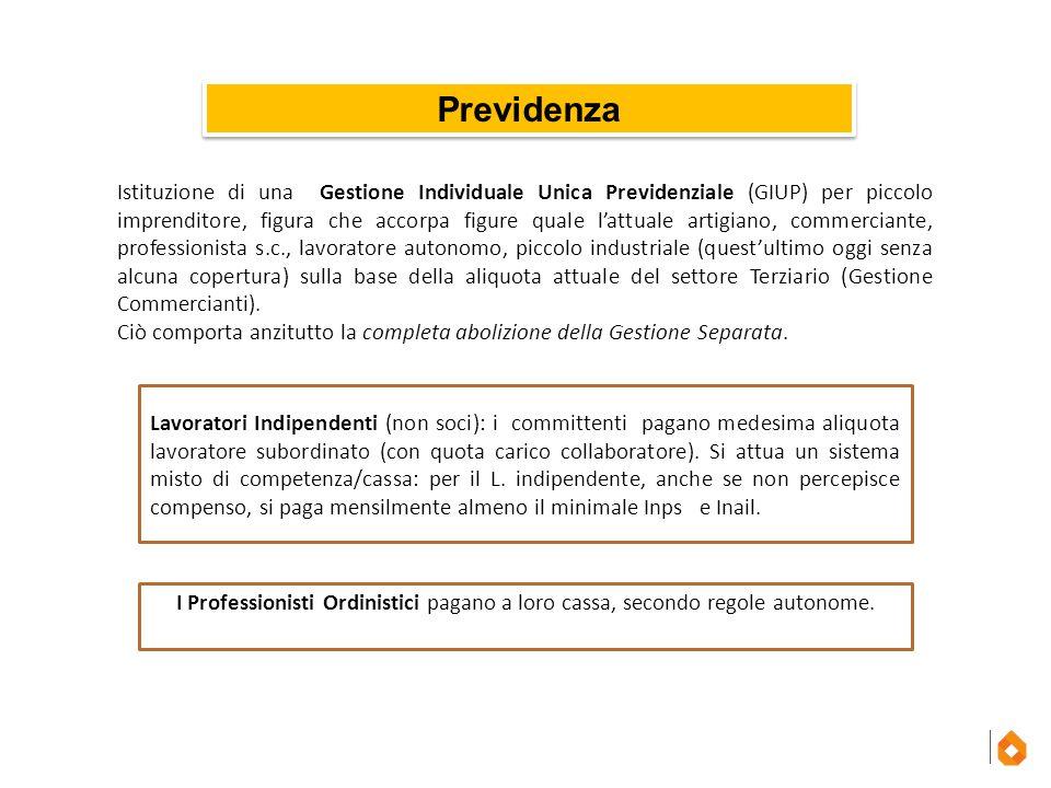 Previdenza Lavoratori Indipendenti (non soci): i committenti pagano medesima aliquota lavoratore subordinato (con quota carico collaboratore). Si attu