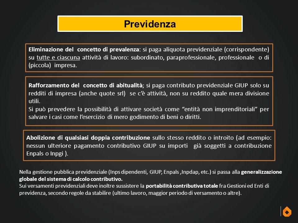 Previdenza Eliminazione del concetto di prevalenza: si paga aliquota previdenziale (corrispondente) su tutte e ciascuna attività di lavoro: subordinat