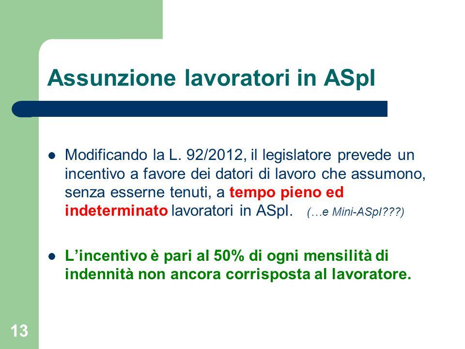 13 Assunzione lavoratori in ASpI Modificando la L.