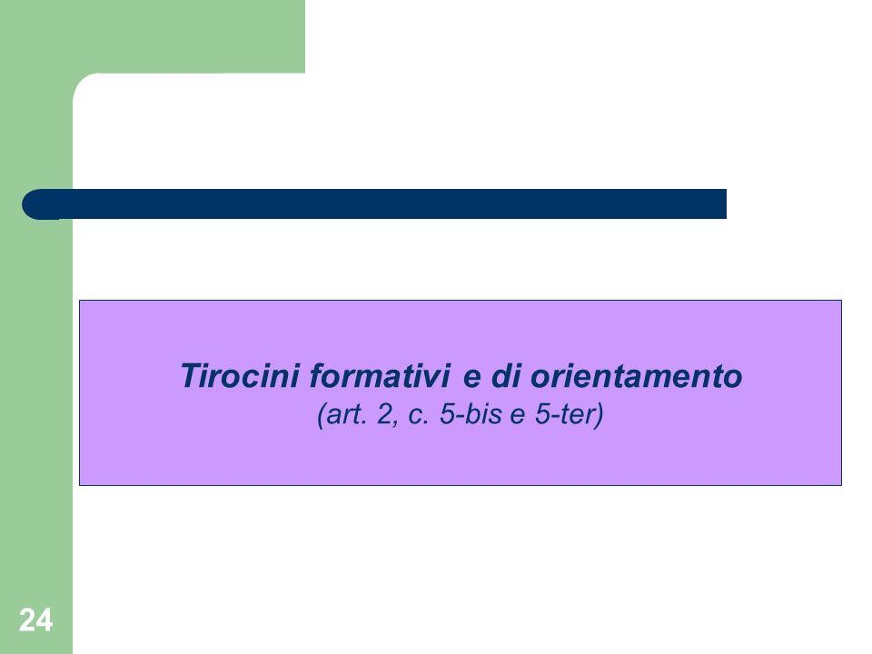 24 Tirocini formativi e di orientamento (art. 2, c. 5-bis e 5-ter)