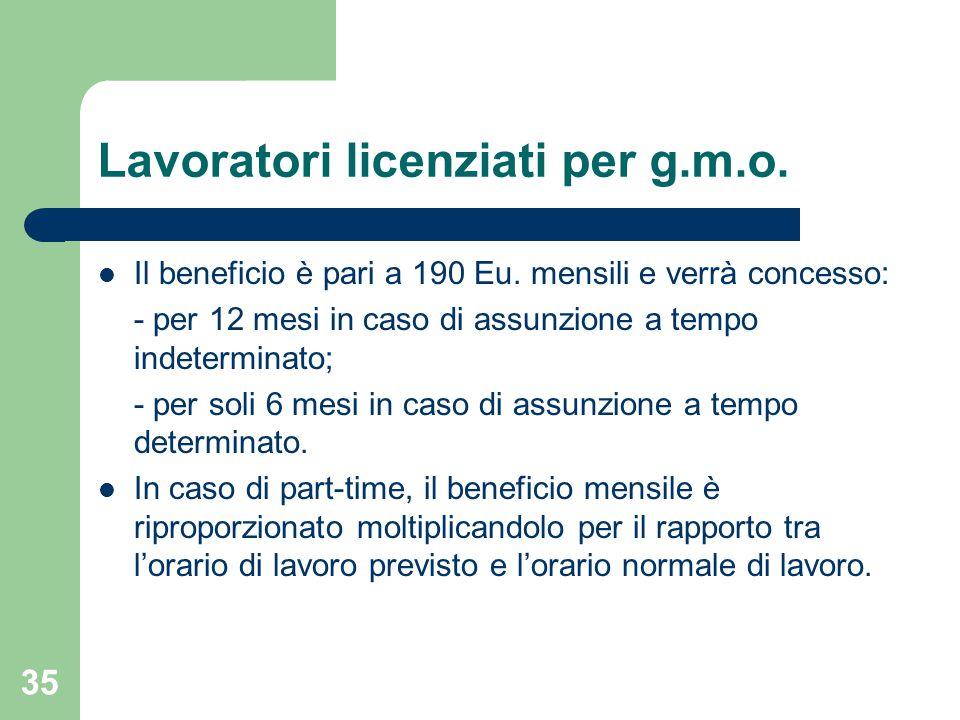 35 Lavoratori licenziati per g.m.o.Il beneficio è pari a 190 Eu.