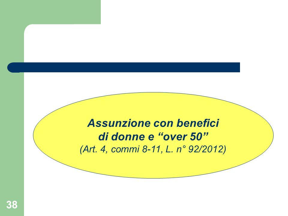38 Assunzione con benefici di donne e over 50 (Art. 4, commi 8-11, L. n° 92/2012)