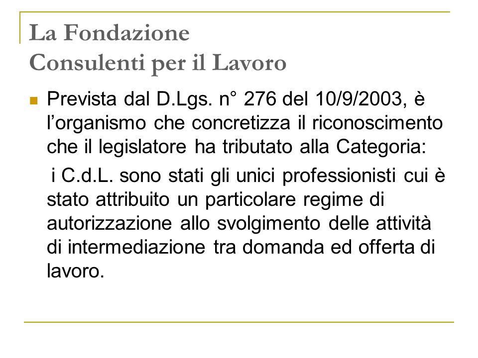 La Fondazione Consulenti per il Lavoro Prevista dal D.Lgs.