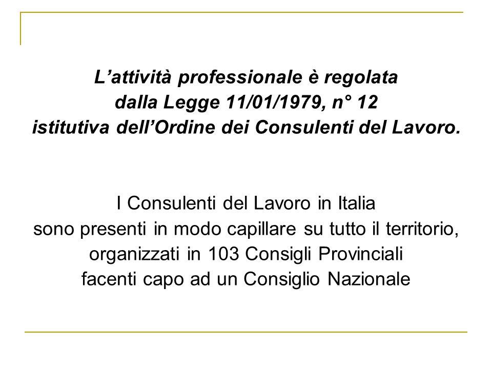 L'attività professionale è regolata dalla Legge 11/01/1979, n° 12 istitutiva dell'Ordine dei Consulenti del Lavoro.