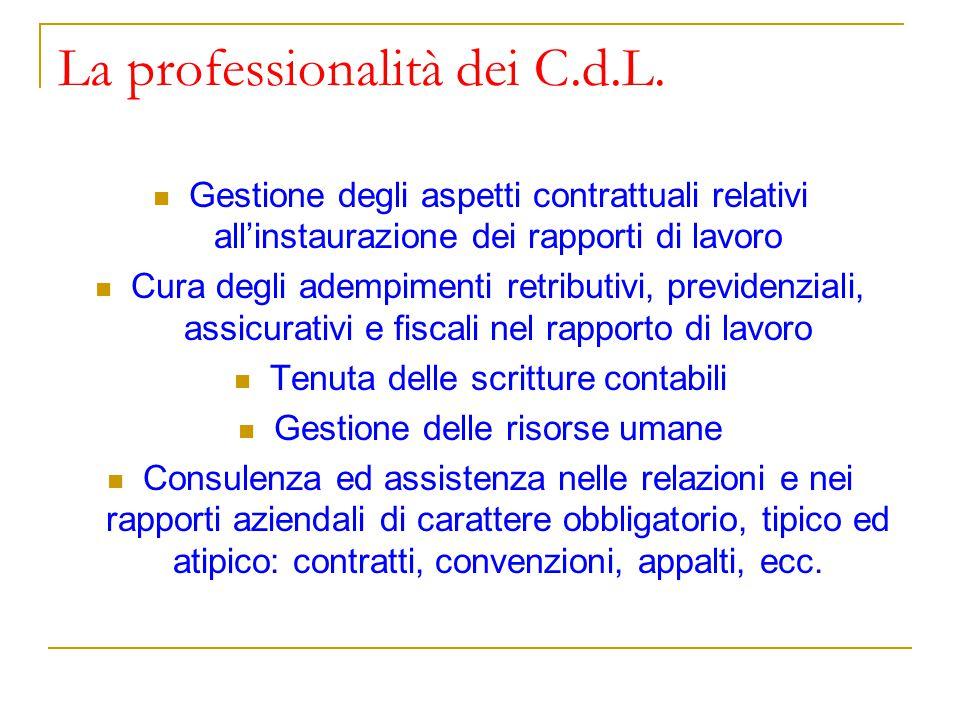 La professionalità dei C.d.L.