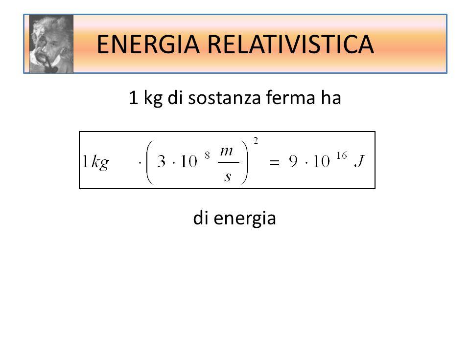 ENERGIA RELATIVISTICA 1 kg di sostanza ferma ha di energia