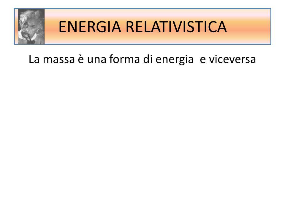 ENERGIA RELATIVISTICA La massa è una forma di energia e viceversa