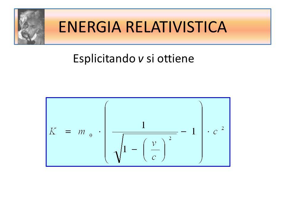ENERGIA RELATIVISTICA Esplicitando v si ottiene