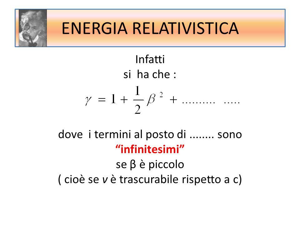 """Infatti si ha che : dove i termini al posto di........ sono """"infinitesimi"""" se β è piccolo ( cioè se v è trascurabile rispetto a c) ENERGIA RELATIVISTI"""