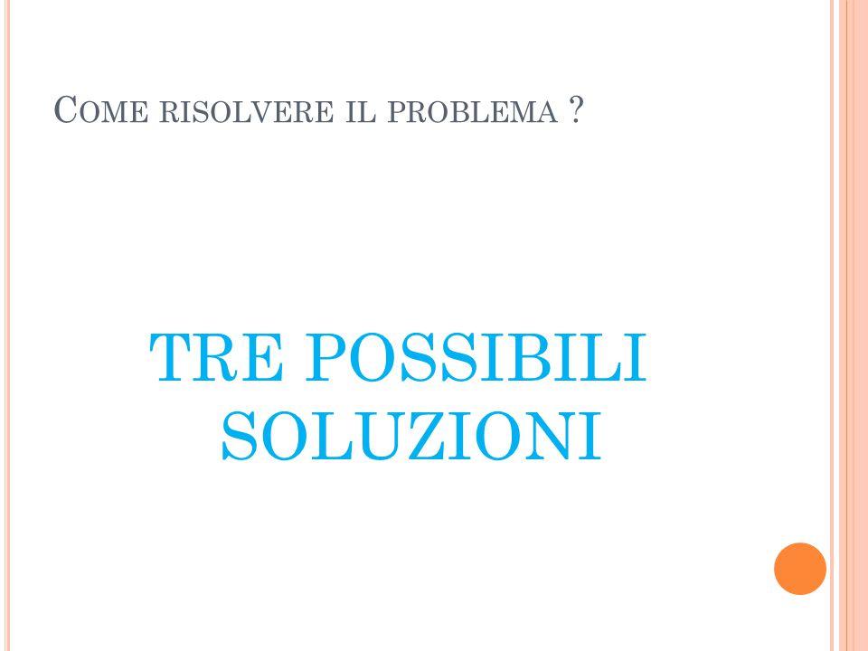 C OME RISOLVERE IL PROBLEMA ? TRE POSSIBILI SOLUZIONI
