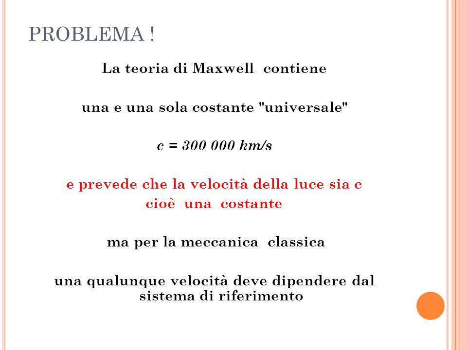PROBLEMA ! La teoria di Maxwell contiene una e una sola costante