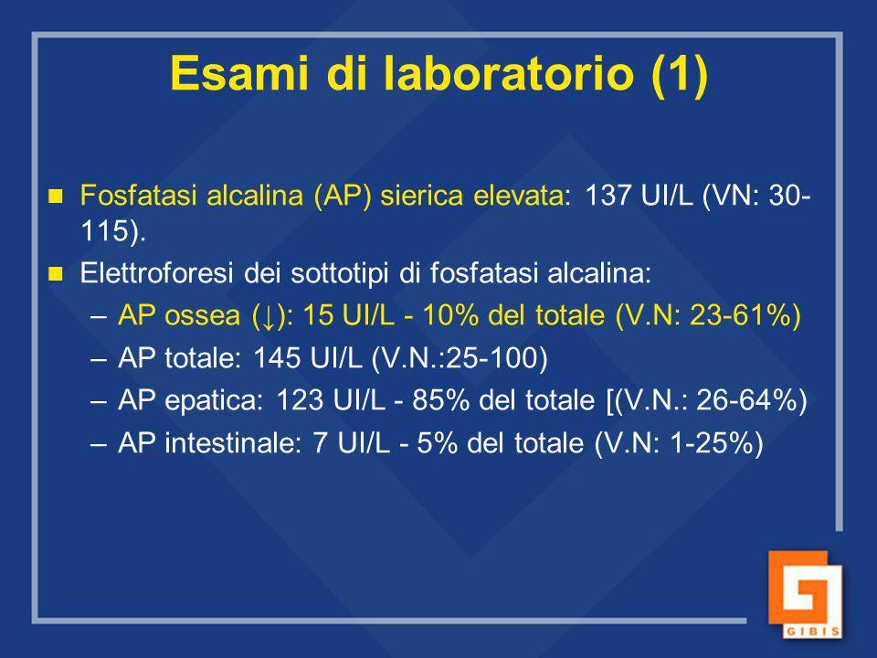 Fosfatasi alcalina (AP) sierica elevata: 137 UI/L (VN: 30- 115). Elettroforesi dei sottotipi di fosfatasi alcalina: – –AP ossea (↓): 15 UI/L - 10% del