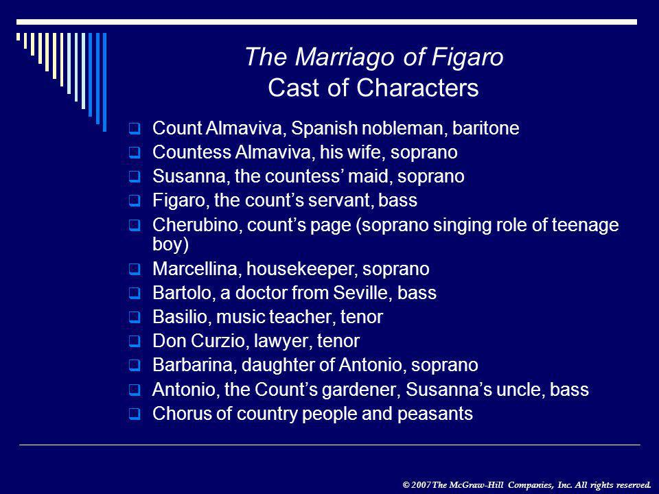 © 2007 The McGraw-Hill Companies, Inc. All rights reserved. The Marriago of Figaro Cast of Characters  Count Almaviva, Spanish nobleman, baritone  C