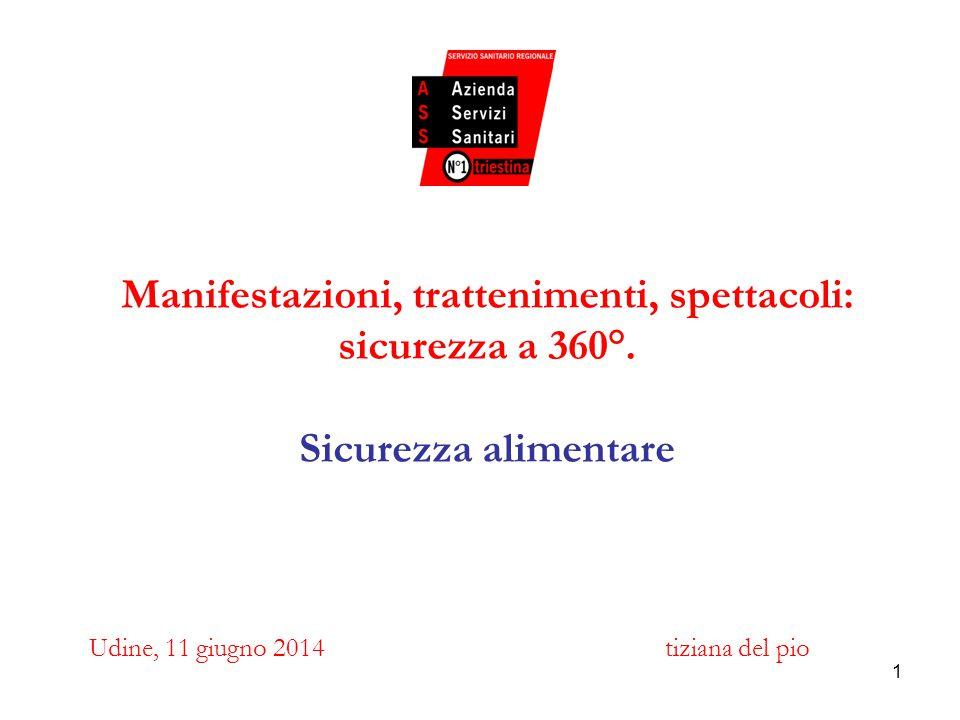 1 Manifestazioni, trattenimenti, spettacoli: sicurezza a 360°. Sicurezza alimentare Udine, 11 giugno 2014tiziana del pio