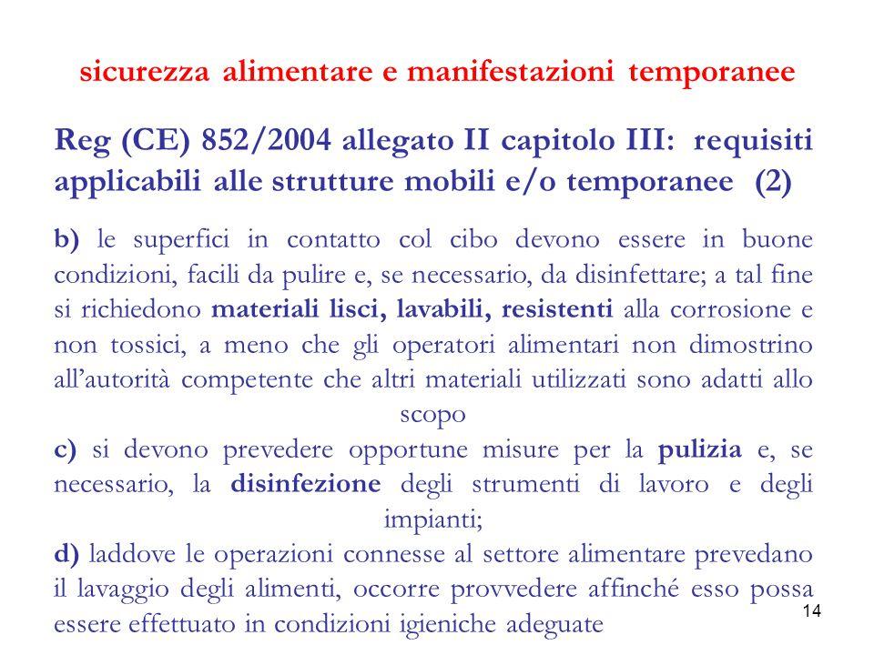 14 sicurezza alimentare e manifestazioni temporanee Reg (CE) 852/2004 allegato II capitolo III: requisiti applicabili alle strutture mobili e/o tempor