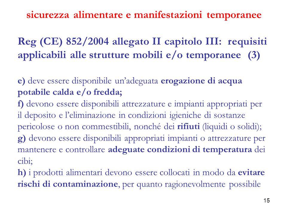 15 sicurezza alimentare e manifestazioni temporanee Reg (CE) 852/2004 allegato II capitolo III: requisiti applicabili alle strutture mobili e/o tempor