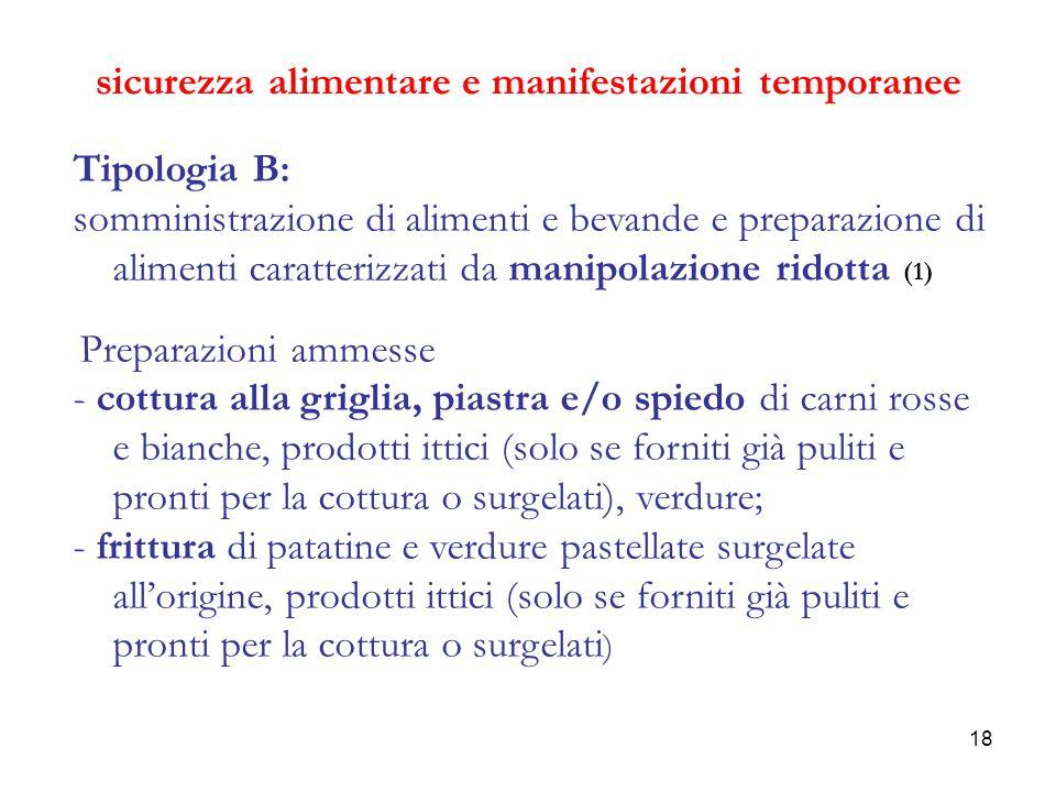 18 sicurezza alimentare e manifestazioni temporanee Tipologia B: somministrazione di alimenti e bevande e preparazione di alimenti caratterizzati da m