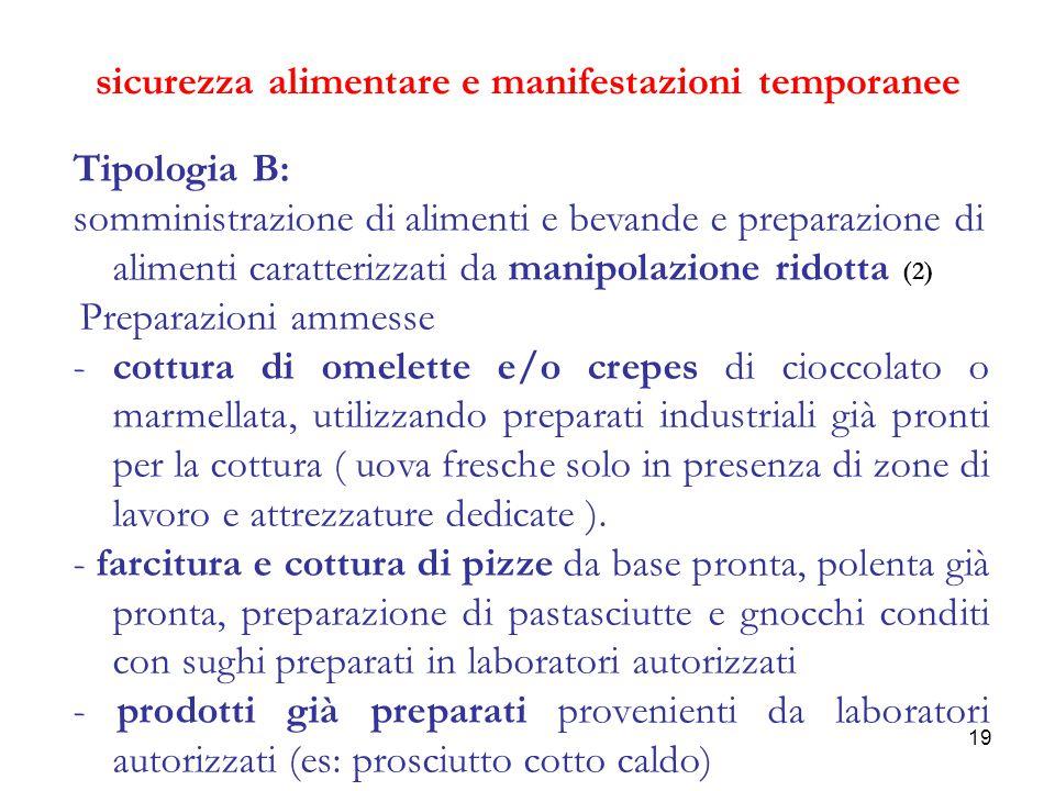 19 sicurezza alimentare e manifestazioni temporanee Tipologia B: somministrazione di alimenti e bevande e preparazione di alimenti caratterizzati da m
