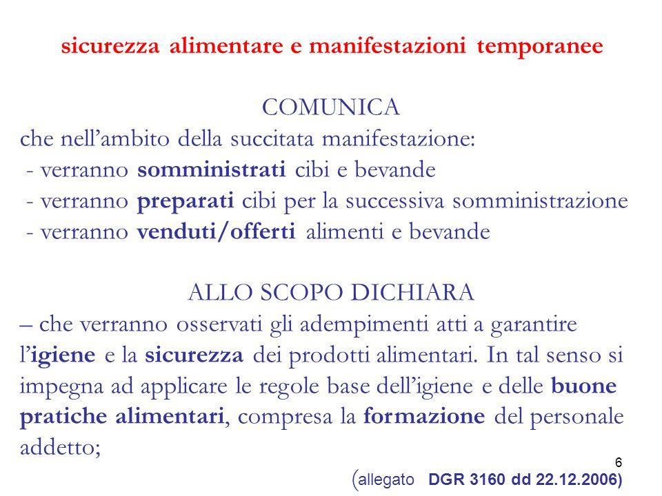 7 sicurezza alimentare e manifestazioni temporanee NON OSA: riferimenti per gli adempimenti a garanzia di igiene e sicurezza degli alimenti Requisiti igienico-sanitari : O.M.
