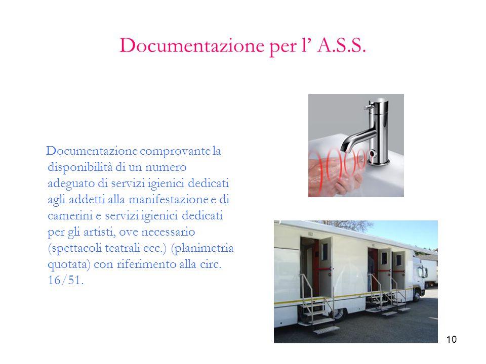 10 Documentazione per l' A.S.S. Documentazione comprovante la disponibilità di un numero adeguato di servizi igienici dedicati agli addetti alla manif