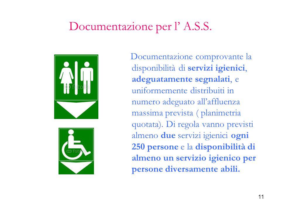 11 Documentazione per l' A.S.S. Documentazione comprovante la disponibilità di servizi igienici, adeguatamente segnalati, e uniformemente distribuiti