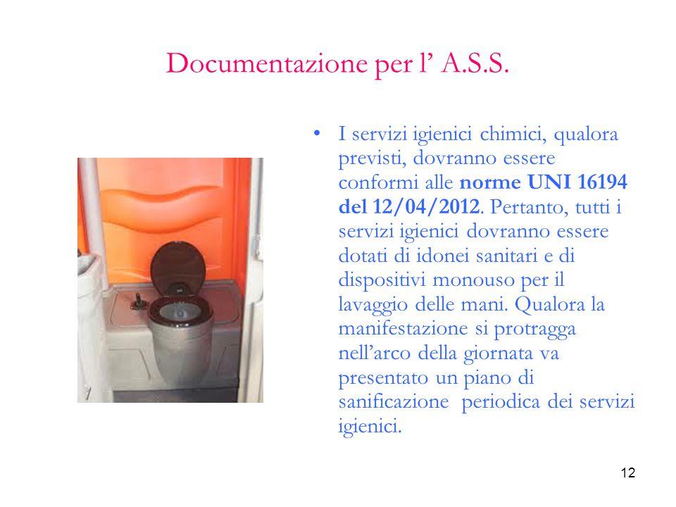 12 Documentazione per l' A.S.S. I servizi igienici chimici, qualora previsti, dovranno essere conformi alle norme UNI 16194 del 12/04/2012. Pertanto,