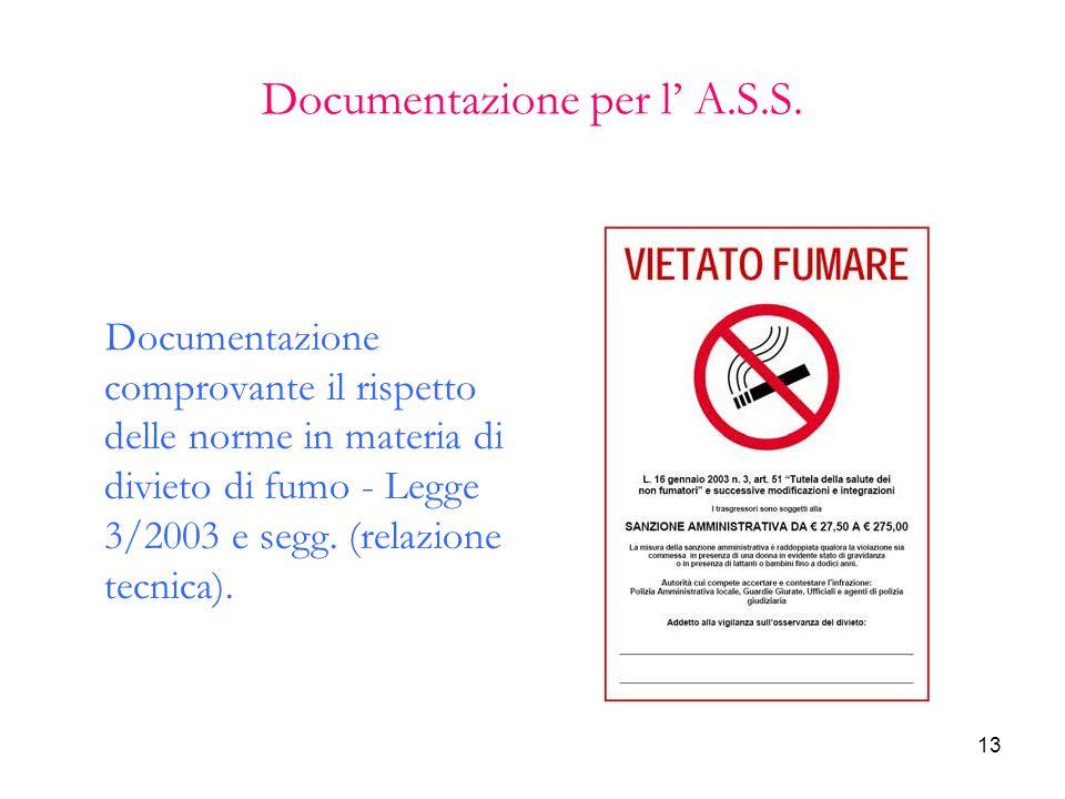 13 Documentazione per l' A.S.S. Documentazione comprovante il rispetto delle norme in materia di divieto di fumo - Legge 3/2003 e segg. (relazione tec