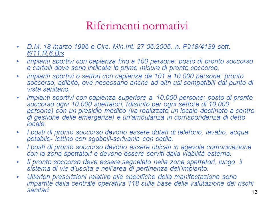 16 Riferimenti normativi D.M. 18 marzo 1996 e Circ. Min.Int. 27.06.2005, n. P918/4139 sott. 6/11.R.6.Bis impianti sportivi con capienza fino a 100 per