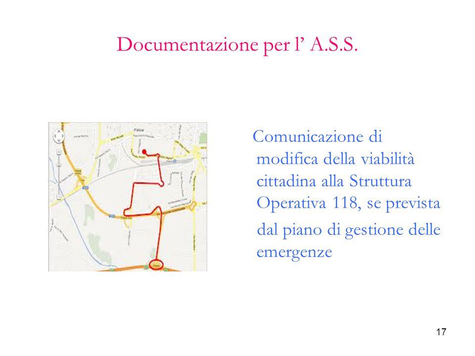 17 Documentazione per l' A.S.S. Comunicazione di modifica della viabilità cittadina alla Struttura Operativa 118, se prevista dal piano di gestione de