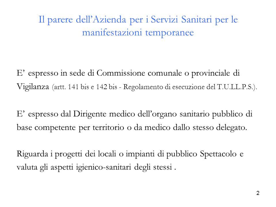 2 Il parere dell'Azienda per i Servizi Sanitari per le manifestazioni temporanee E' espresso in sede di Commissione comunale o provinciale di Vigilanz