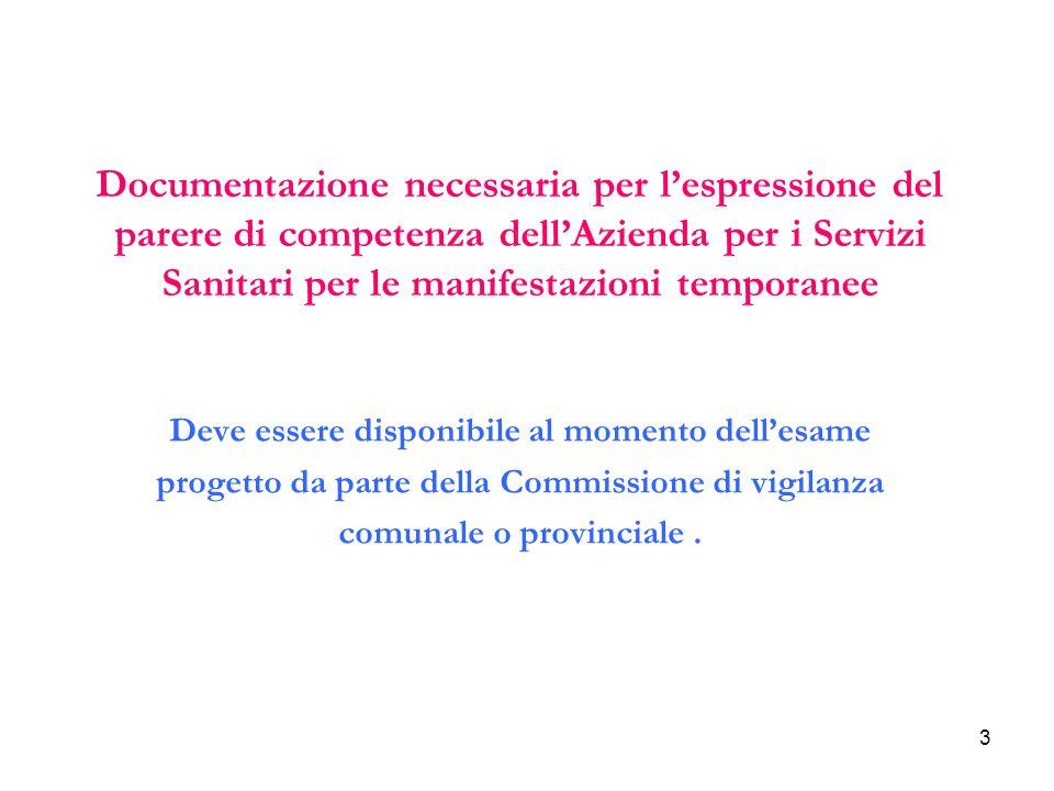 3 Deve essere disponibile al momento dell'esame progetto da parte della Commissione di vigilanza comunale o provinciale. Documentazione necessaria per