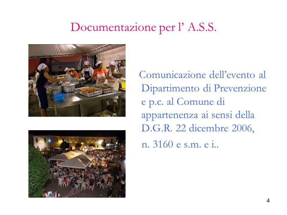 4 Documentazione per l' A.S.S. Comunicazione dell'evento al Dipartimento di Prevenzione e p.c. al Comune di appartenenza ai sensi della D.G.R. 22 dice