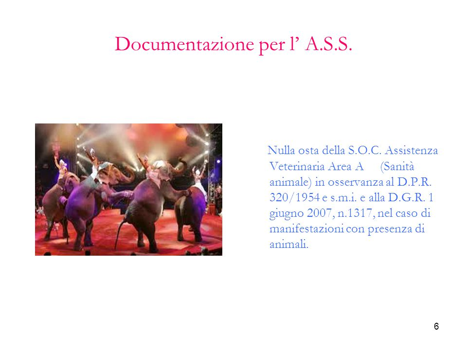 6 Documentazione per l' A.S.S. Nulla osta della S.O.C. Assistenza Veterinaria Area A (Sanità animale) in osservanza al D.P.R. 320/1954 e s.m.i. e alla