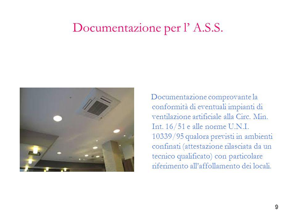 9 Documentazione per l' A.S.S. Documentazione comprovante la conformità di eventuali impianti di ventilazione artificiale alla Circ. Min. Int. 16/51 e