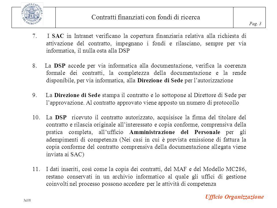 Contratti finanziati con fondi di ricerca Pag. 3 Ufficio Organizzazione Jul08 7.