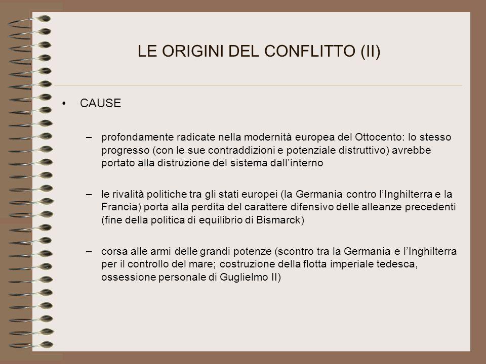 LE ORIGINI DEL CONFLITTO (II) CAUSE –profondamente radicate nella modernità europea del Ottocento: lo stesso progresso (con le sue contraddizioni e po