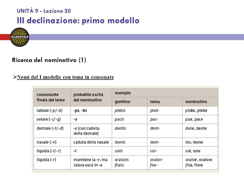 UNITÀ 9 - Lezione 20 III declinazione: primo modello  Sostantivi neutri