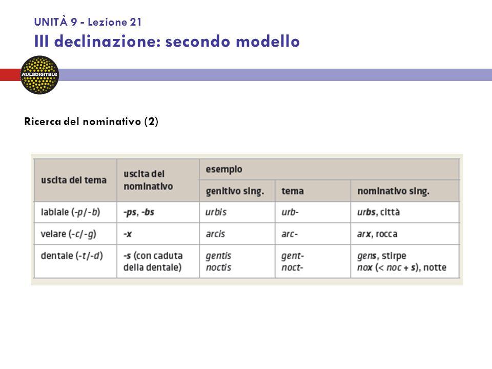 UNITÀ 9 - Lezione 22 III declinazione: terzo modello.