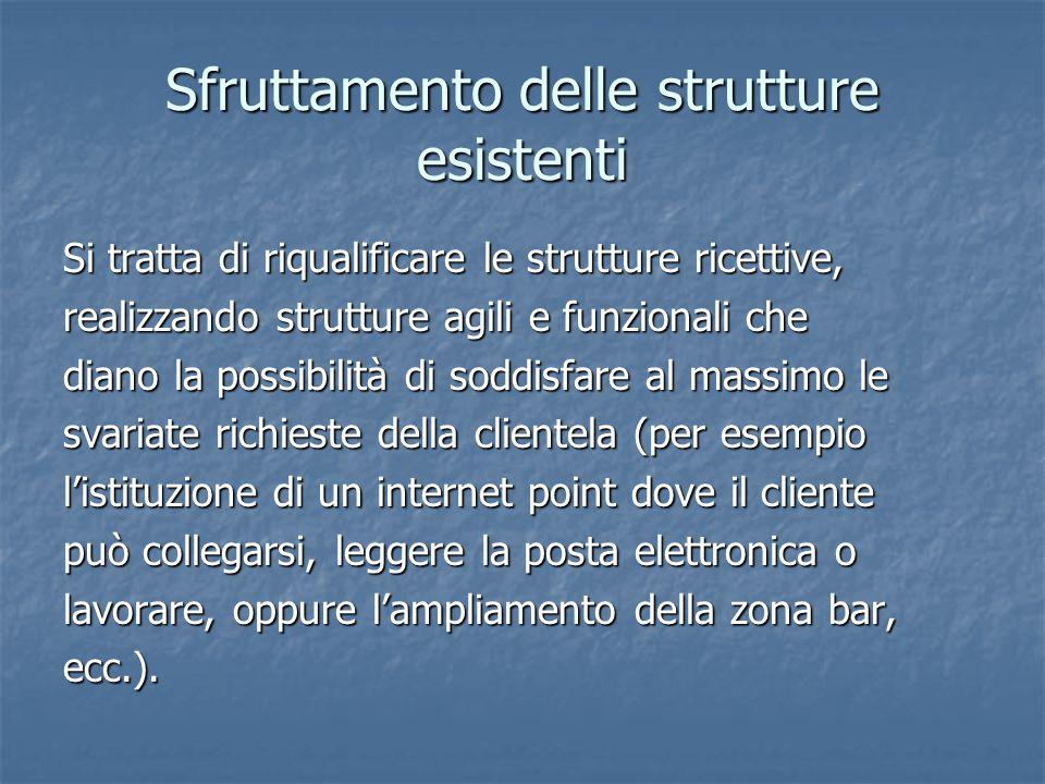 Sfruttamento delle strutture esistenti Si tratta di riqualificare le strutture ricettive, realizzando strutture agili e funzionali che diano la possib